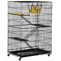 Yaheetech Folding Four Tiers Pet Cat Ferret Metal Crate Cage w Removable Tray Mat and Hammock *** For more information, visit image link.
