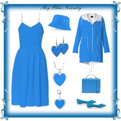 """My ""Sky Blue Serenity"" Dress, Coat & Jewelry"" by artist4god-rose-santuci-sofranko on Polyvore"