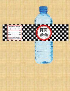 Race Car Water Bottle Labels