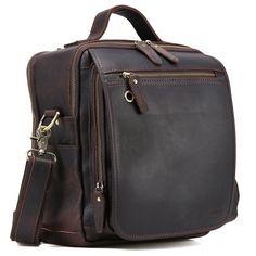 35e492c67d7b Tiding Vintage Men s Small Handmade Leather Messenger Bag Handbag Travel Bag  Crossbody IPad Bag (Brown