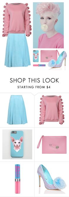 """""""Baby blue & Pink woman outfit"""" by savousepate ❤ liked on Polyvore featuring ADAM, WithChic, Versus, Privileged, Pink, Blue, pastel, pom and embellishedsleeves"""