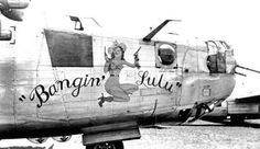 """""""Bangin' Lulu"""" - B-24H 42-51091, 492nd BG, 446th BG. This pistol-packin' pin-up was quite rare, being a fully-clothed Vargas Girl. #WWII nose art, noseart, lulu, bangin"""