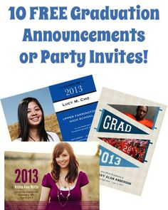 10 FREE Graduation Announcements or Party Invites!! just pay s/h + Fun Graduation Party Tips!