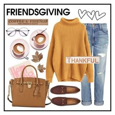 """""""Friendsgiving #2: Snugg"""" by dfarhany on Polyvore featuring DutchCrafters, Martha Stewart, Current/Elliott, Olympia Le-Tan, MICHAEL Michael Kors, Gucci, Bliss Studio and Primitives By Kathy"""