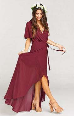 Everything about this dress, from the color to the chic style, is perfect for Fall!   Fall Bridesmaids Dresses   Fall Wedding Ideas   Burgundy Wedding Party   Burgundy Bridesmaids Dresses   Bridal Party Style   Bridesmaid Wrap Dress   Boho Bridesmaids   Fall Wedding Color Palette