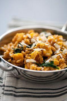 farro risotto with acorn squash and kale