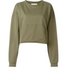 Faith Connexion Kangaroo Pocket Cropped Sweatshirt ($259) ❤ liked on Polyvore featuring tops, hoodies, sweatshirts, sweaters, green, kangaroo pocket sweatshirt, cropped sweatshirt, green crop top, green sweatshirt and brown crop top