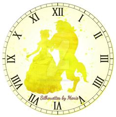 Belle and Beast Watercolor Clock by SilhouettesbyMarie on DeviantArt Belle And Beast, Sweetie Belle, Disney Silhouettes, White Clocks, Silhouette Art, Clipart Images, Live Action, Beauty And The Beast, Disney Clocks
