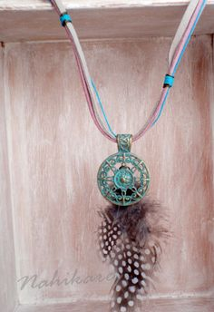 Tribal neckglace Mandala  Natural feather   Collar por Nahikare