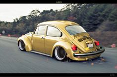 VW Beetle #70's # slammed # lowered # yellow #mean ♠... X Bros Apparel Vintage Motor T-shirts, Volkswagen Beetle & Bus T-shirts, Great price… ♠