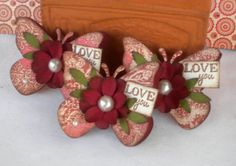Valentine Butterfly Embellishments. Vintage by KindrasCreations