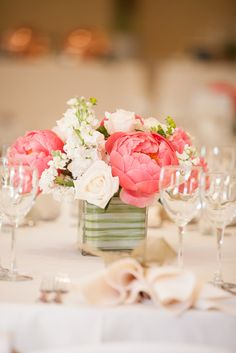 Peony and White Rose Centerpieces | TheKnot.com