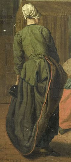 "1740 - 1760. Detail of ""Vrolijk gezelschap"" (The Merry Company) by Jan Jozef Horemans II (Flemish painter). Women -- Clothing & dress -- 1700-1799 -- Belgium. 18th century Flemish costume. She wears a green jacket with darker green edging. Her black or dark brown petticoat has a red binding at the hem. She has another petticoat underneath, perhaps navy blue. Demonstrating one of the many ways in which the top skirt can be pulled up and tucked into the waistband."