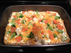 Vegetable Pizza    Spread 2 cans of crescent rolls out in pan for crust and bake  Mix cream cheese in bowl with dry ranch dressing  Spread on crust after crust cools  Top with your favorite veggies and shredded cheese.