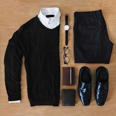 Outfit grid - Black and white style Mode Outfits, Casual Outfits, Men Casual, Fashion Outfits, Smart Casual, Casual Wear, Fashion Ideas, Fasion, Fashion Trends