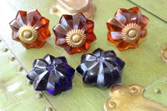 Amber+Glass+Drawer+Pull+w/+Amethyst+Purple+Inserts+by+SaVINTheAGE,+$18.95