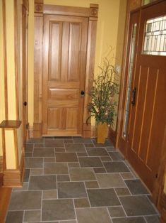 entryway floor tile -irregular tile pattern (as opposed to straight lines) - to help use up those random tiles I don't have enough of to do the whole floor Entryway Tile Floor, Entry Tile, Entryway Flooring, Floor Design, Tile Design, House Design, Porches, Stone Flooring, Penny Flooring