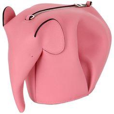 Loewe Women Elephant Leather Shoulder Bag ($1,335) ❤ liked on Polyvore featuring bags, handbags, shoulder bags, candy pink, pink, leather shoulder handbags, leather purses, genuine leather shoulder bag, red handbags and red shoulder bag