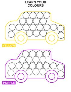 Learn Colors With Cars Do-A-Dot Transportation Worksheets for Kids