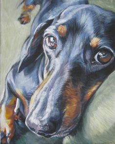 Dachshund art print canvas print of  LA Shepard painting 8x10 dog art. $19.99, via Etsy.