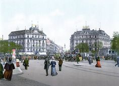 Potsdamer Platz around 1900, looking north. The Grand Hotel Bellevue and Palast Hotel stand on either side of the northern portion of Königgrätzer Straße (to be renamed Ebertstraße in 1954).