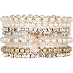 Accessorize 10 x Pearl and Bead Stretch Bracelets ($29) ❤ liked on Polyvore featuring jewelry, bracelets, accessories, beaded bangles, beaded stretch bracelet, pearl jewellery, special occasion jewelry and pearl bracelet
