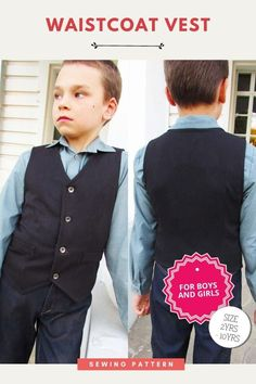Waistcoat Vest sewing pattern (2-10 years) for boys and girls. This pdf pattern for a classic waistcoat vest is suitable for beginner sewers. It's absolutely perfect for everyday wear as well as any special occasion. As the designer says this waistcoat is a great way to inject a little personality into an outfit. It can be worn with t-shirts, or shirts, shorts, jeans or pants. Boys Sewing Patterns, Sewing For Kids, Kids Tops, Party Tops, Modern Kids, Summer Tops, Toddler Outfits, Casual Tops, 10 Years