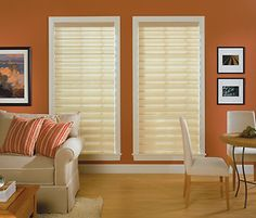 Outside Mount Blinds With Calm Brown Color And Nice White Windows Frame Design Curtains Over