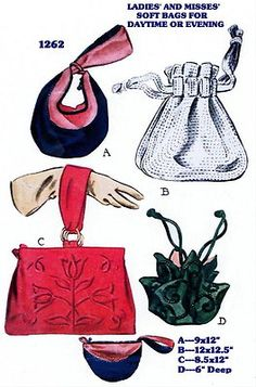 1262 Handbag Pocketbook Bag Purse Fabric Material Sewing Sew Pattern Vintage 40s | eBay