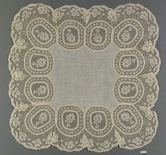 Handkerchief, French, bobbin lace, 19th century Needle Lace, Bobbin Lace, Antique Lace, Vintage Lace, Lacemaking, Vintage Handkerchiefs, Tatting Lace, Brocade Fabric, Linens And Lace