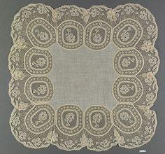 Handkerchief, French, bobbin lace, 19th century