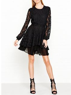 JUST CAVALLI Lace Layered Long Sleeve Dress - BlackSize & Fit True to size…
