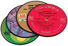 """Custom & Cool {4"""" Inches} in Set Pack of 4 Round """"Flat & Smooth Texture"""" Drink Cup Coaster Made of Laminated Record & Vintage Vinyl LP Record Design [Assorted Colors] mySimple Products"""