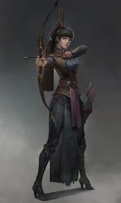 F rogue thief leather armor longbow urban city undercity artstation - 雀 羽 Dungeons And Dragons Characters, Dnd Characters, Fantasy Characters, Female Characters, Female Character Design, Character Design Inspiration, Character Concept, Character Art, Fantasy Women