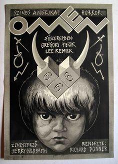 "Ómen (1976) ""The Omen"" Hungarian vintage movie poster Artist by:Felvidéki András"