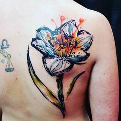 Sketchy watercolor daffodil tattoo by Jay Van Gerven. watercolor JayVanGerven flower daffodil sketchy illustrative inksplatter