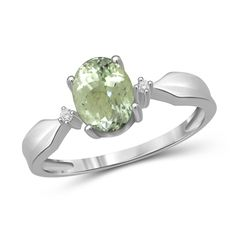 Jewelonfire 1.30 CTW Green Amethyst Gemstone & Accent White Diamond Ring in Sterling Silver (Yellow, Size-8), Women's, Size: 8