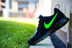 Custom Neon Green Nike Roshe Run Shoes Paint Splatter Design Hand Painted Personalized