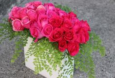 Hot pink roses and maiden hair fern floral arrangement - Sophisticated Floral Designs
