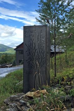 Four sided Cor-ten steel property entrance sign. The column measures 36″ wide x 24″ deep x 119″ tall. Sign features completely custom tree artwork with name of property cut out from face and side of the sign. The house numbers are raised off the face of the sign. The artwork has brushed stainless steel set behind it to create contrast. Low profile access door on the backside of the structure. The sign exterior will weather naturally and turn a rusty brown over time, while the stainless steel…