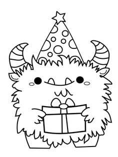 Happy Birthday Drawings, Happy Birthday Coloring Pages, Doodle Monster, Monster Drawing, Monster Coloring Pages, Coloring Book Pages, Kawaii Drawings, Easy Drawings, Kids Stamps