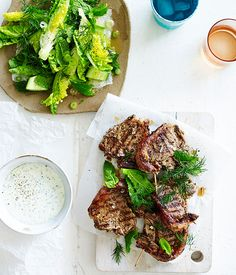 Australian Gourmet Traveller recipe for barbecued Greek lamb chops with minty soft feta.