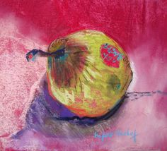 """99 pears later..."" day 31 pastel 20x20 cm Marie-France OOSTERHOF"