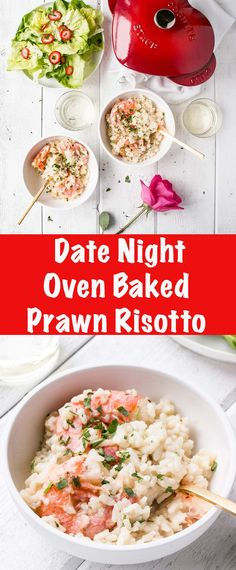 Date Night Oven Baked Garlic Butter Prawn Risotto - My Kitchen Love