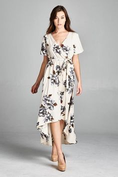 Hi-Lo Ivory Floral Dress