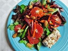 Beet, Carrot and Blood Orange Salad with Almond Crusted Macadamia