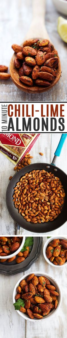 Crunchy pan-roasted almonds with hints of spicy chili and zesty lime – these are positively addictive! So quick, easy, and healthy too!