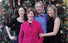 Memories: Jenna shares pictured of herself with her father former President George W. Bush, centre, mother Laura Bush and sister, Barbara, left Jenna Bush, Laura Bush, Presidents Wives, American Presidents, Famous Men, Famous People, George Bush Family, Thanks For The Memories, First Daughter