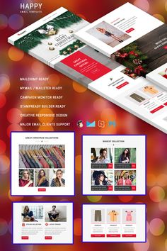 Happy Newsletter Template Newsletter Design Templates, Web Design Software, Email Templates, Christmas Newsletter, French Language Learning, Learning Spanish, Christmas Offers, Responsive Email, Email Client