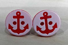 99p Button earrings Nautical anchor earrings by KelwayCraftsYorkshir